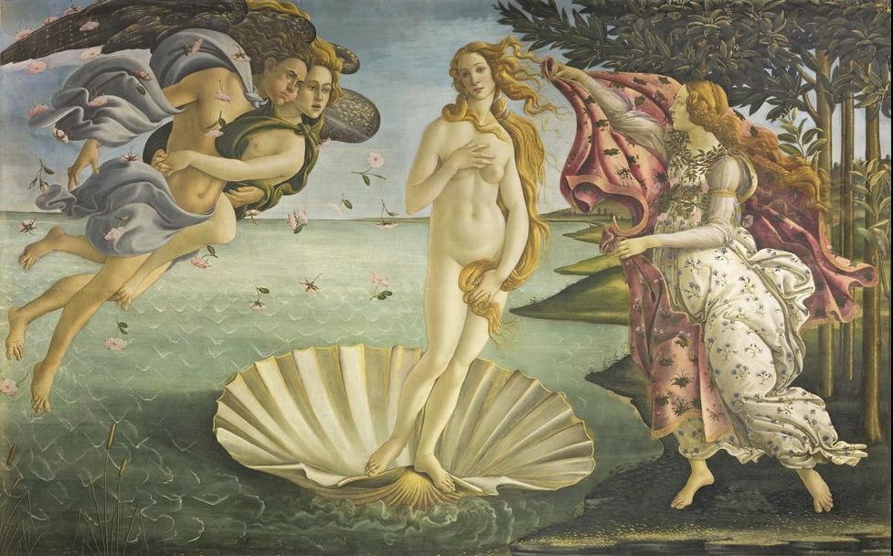 Botticelli, Sandro. Birth of Venus. ca 1485. Tempera on canvas, 175.2 x 278.5 cm. Uffizi Gallery, Florence, Italy. Image is from Uffizi Gallery: https://www.uffizi.it/en/artworks/birth-of-venus.