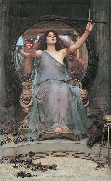 Circe Offering the Cup to Odysseus by John William Waterhouse (1849-1917)