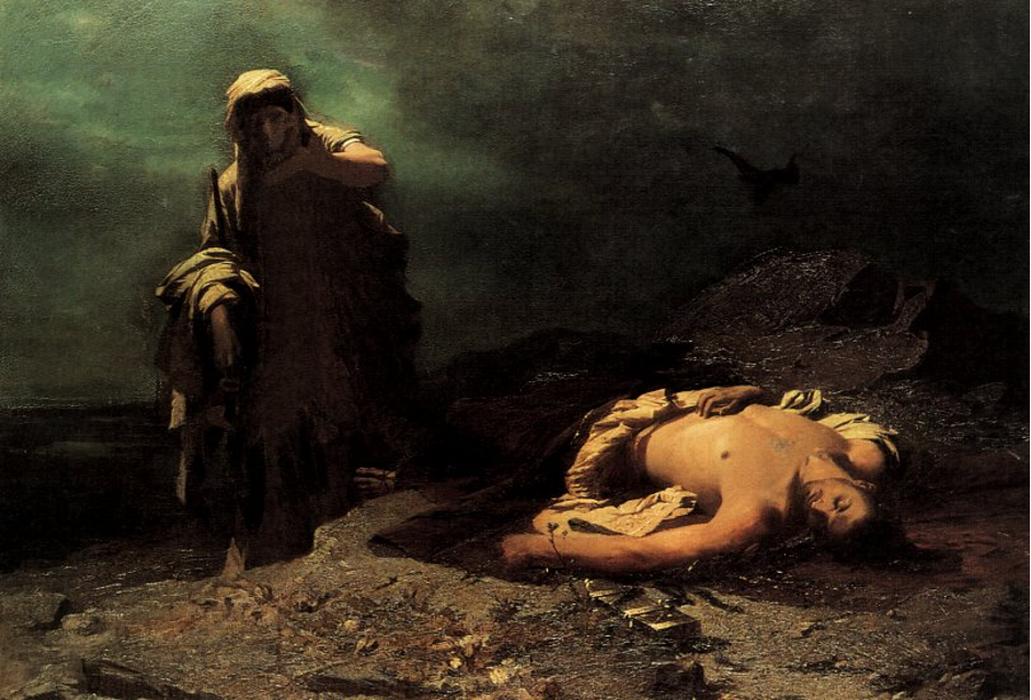 Painting of Antigone in front of the dead Polynices, Nikiforos Lytras (1865)