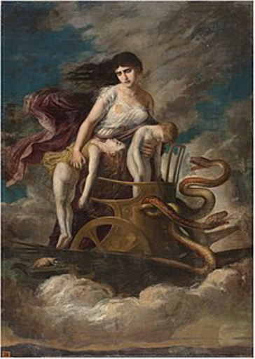 Medea on her Golden Chariot –  by Germán Hernández Amores