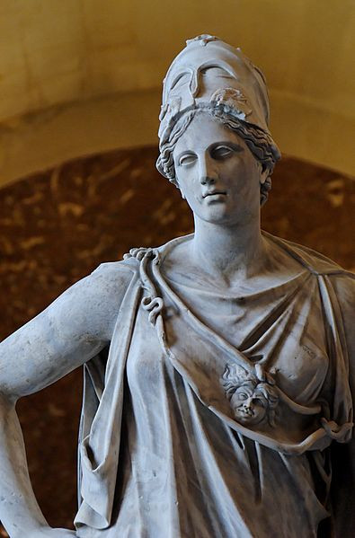 """So-called """"Mattei Athena"""". Marble, Roman copy from the 1st century BC/AD after a Greek original of the 4th century BC, attributed to Cephisodotos or Euphranor. Related to the bronze Piraeus Athena."""
