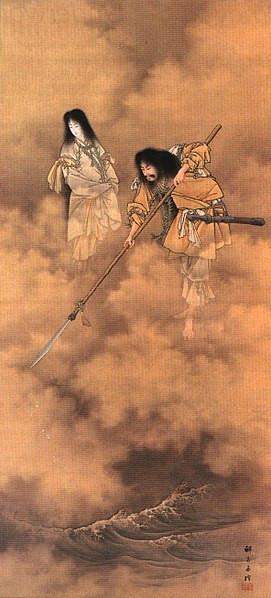Izanami and Izanagi creating Japan (Searching the Sea with the Tenkei, by Kabayashi Eitaku)