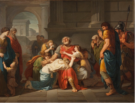 Painting of  The Blind Oedipus Commending his Children to the Gods, Bénigne Gagneraux (1784)