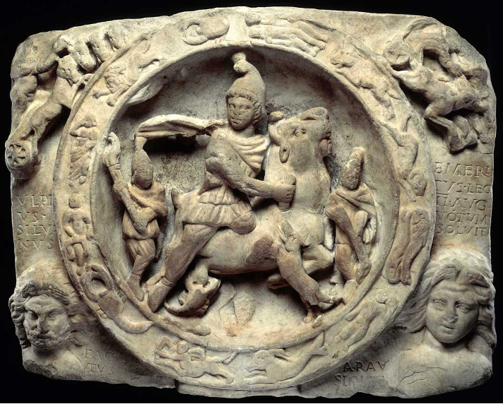 Relief of Mithras – depicting the slaying of the bull, the sun god, the moon god, animals, the zodiac, and other small details