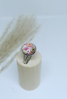 Bague cabochon flowers
