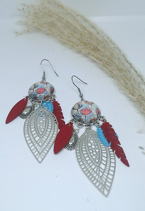 Boucles cabochons Coquelicot