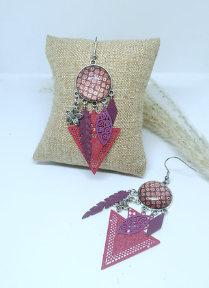 Boucles cabochons Pink