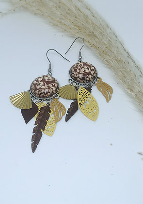 Boucles cabochons Brown