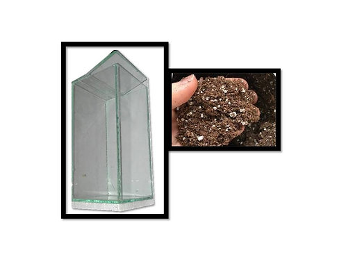 Arboreal cage 8cm x 8cm x 15cm with small packet peat