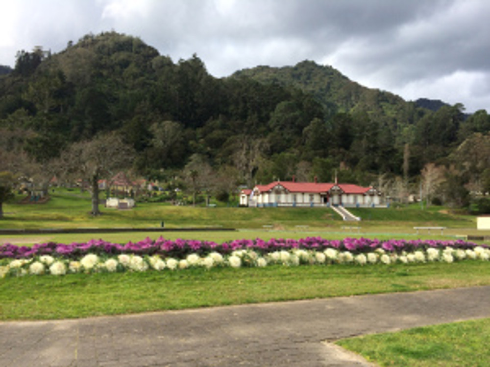 The old Te Aroha bath house nestled beneath the hill. Now it's a museum.