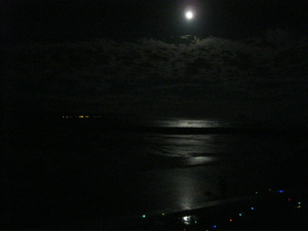 4am full moon Ohope lights in background, Ohiwa Harbour