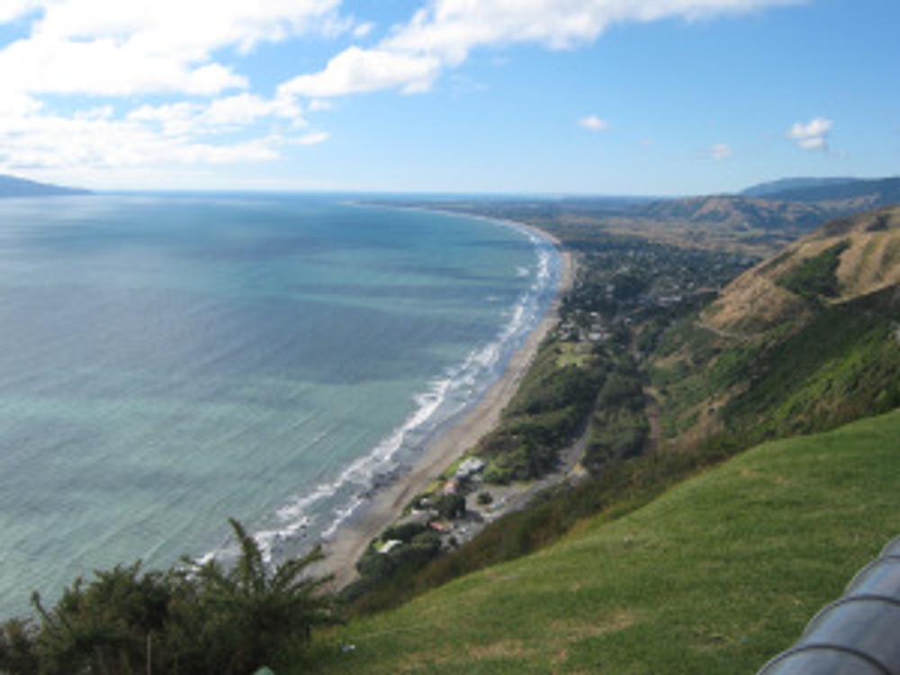 The Kapiti Coast from the Paekakariki Hill road. In the Maori language, kakariki means green and is also a bird, a native parakeet with bright feathers.
