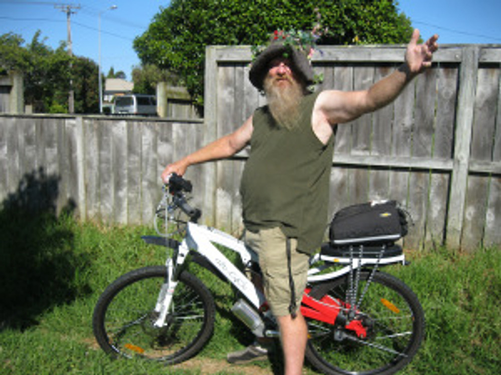 Tauranga's Green Wizard on his e-cycle