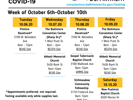 Mobile COVID-19 Testing Sites - October 6-10