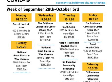COVID-19 Testing Sites - September 28-October 3