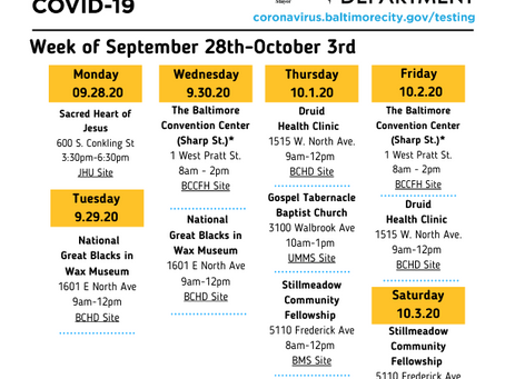 COVID-19 Testing Sites - September 28-October 3