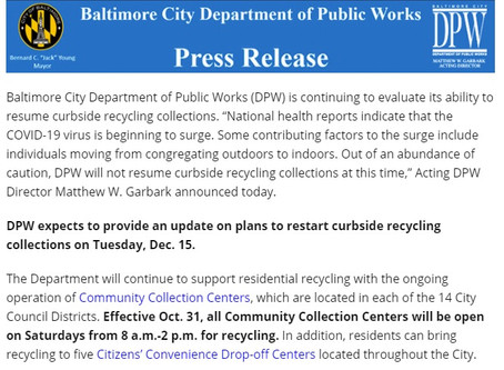Curbside Recycling WILL NOT Resume November 1, 2020