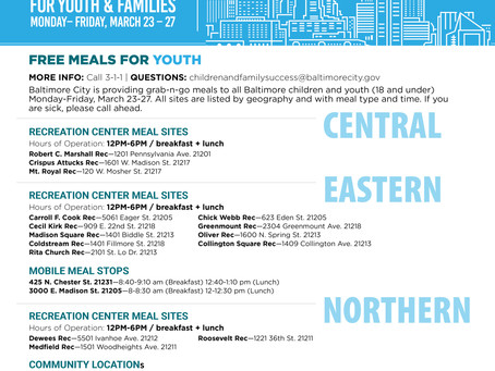 FREE MEALS FOR YOUTH & FAMILIES March 23-27