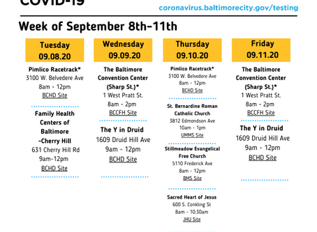 COVID-19 Testing Sites - September 8-11