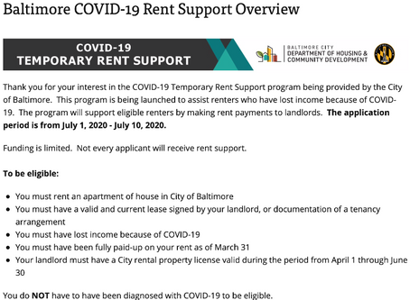 Temporary Rent Assistance - Application Opens July 1 and Closes July 10