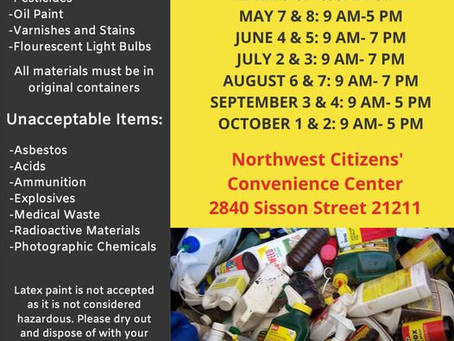 Household Hazardous Waste Collection - 2021 Dates