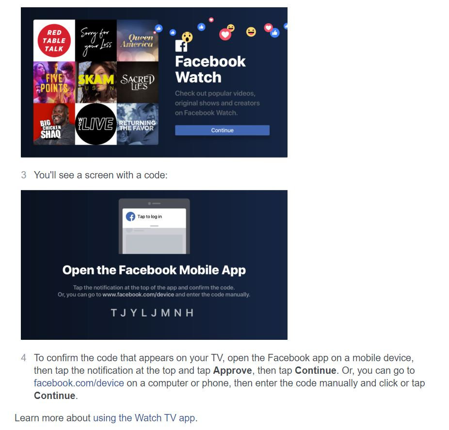 Facebook TV instructions 2