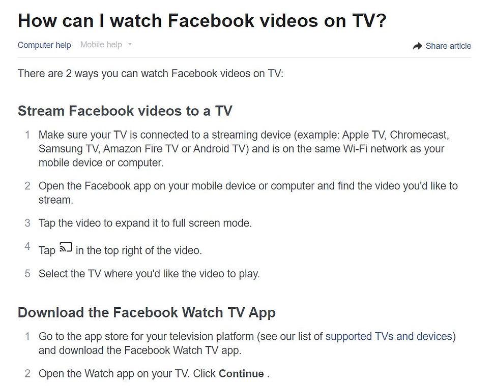 Facebook TV instructions 1