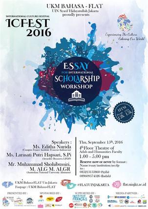 ICFest 2016 : Essay For International Scholarship Workshop