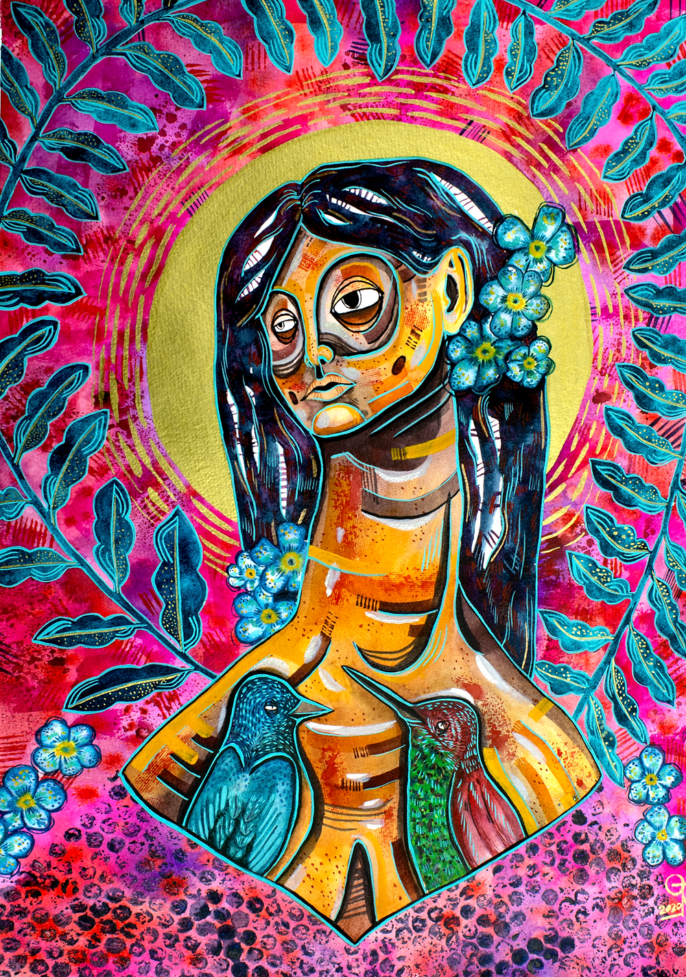 expresive watercolor woman portrait, watercolor painting, watercolor birds