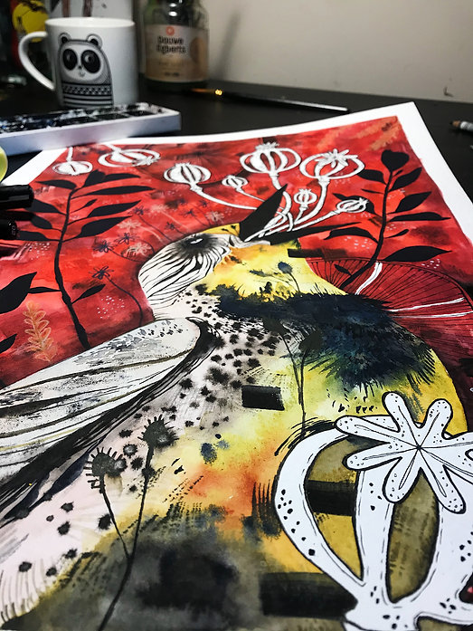 watercolor bird painting expressive illustration bird illustration wall art wall print