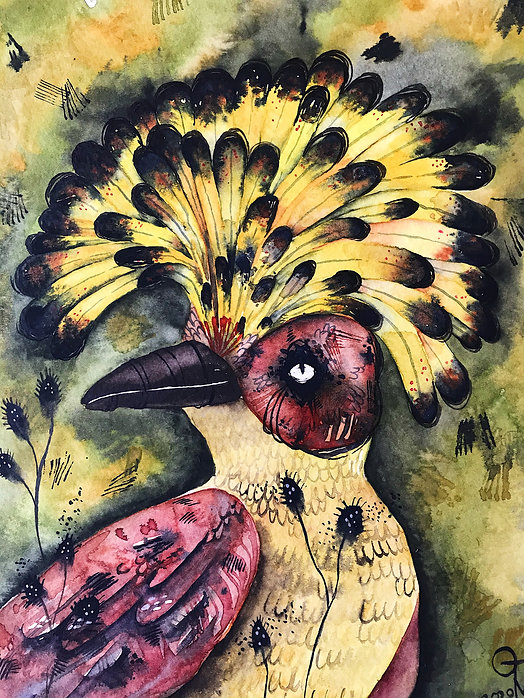 expressive watercolor painting bird watercolor painting illustration wall decor wall art