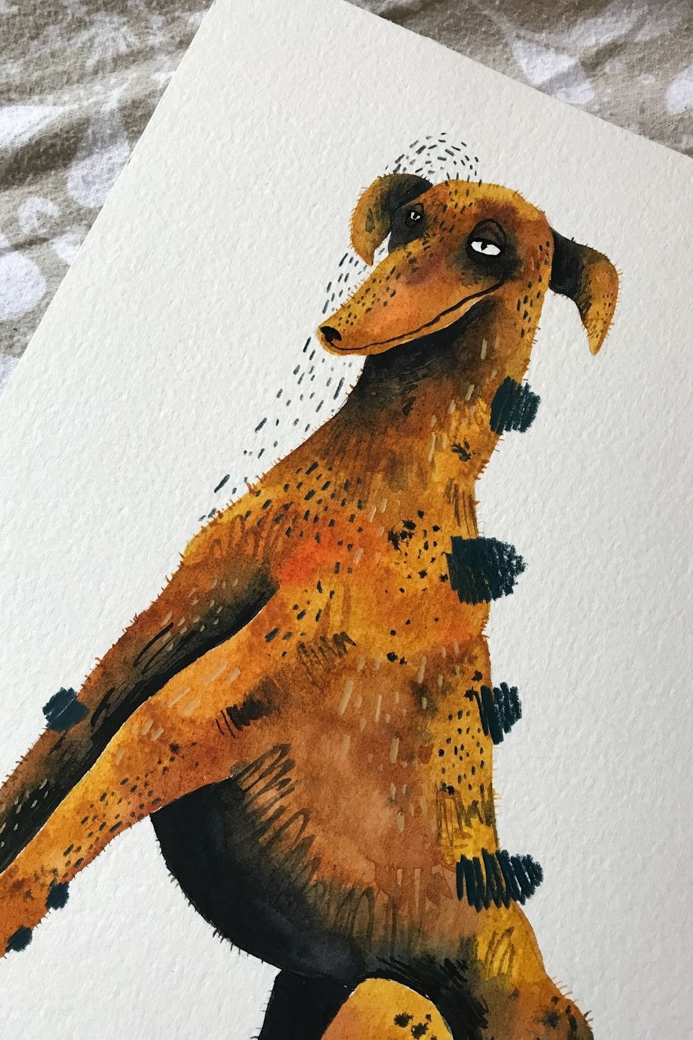 greyhound watercolor painting, quirky pet painting