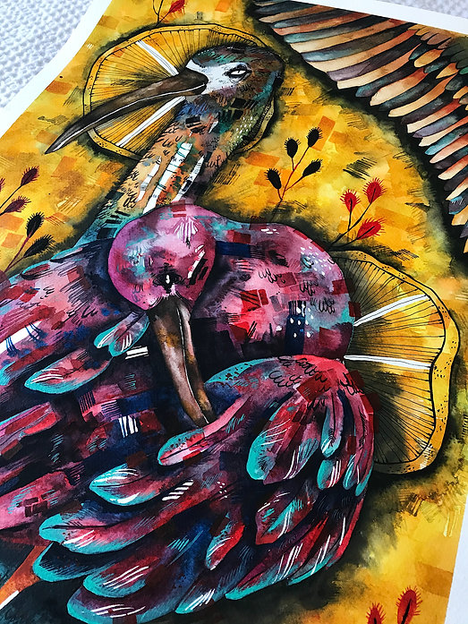 expressive watercolor painting bird watercolor painting illustration wall decor wall art