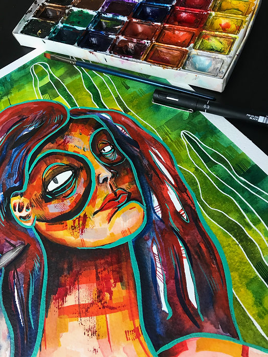 expressive watercolor woman portrait woman painting illustration watercolor painting