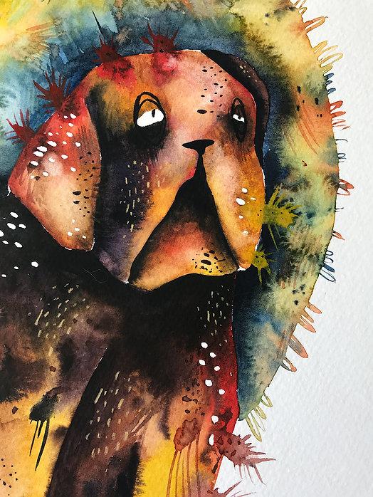 expressive watercolor dog portrait dog illustration watercolor painting