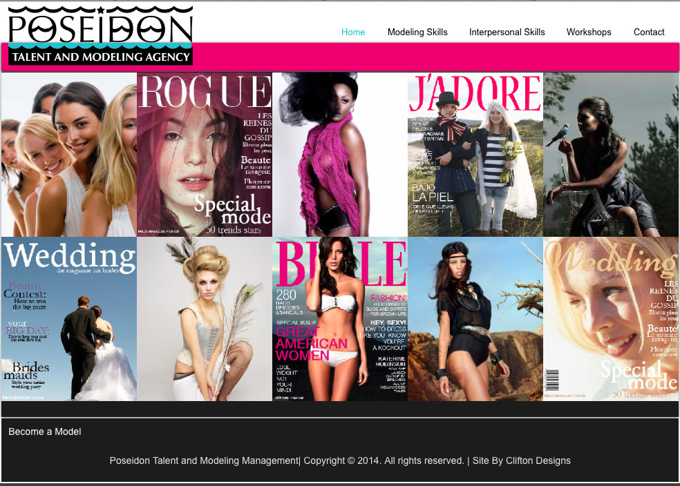 Poseidon Talent and Model Management website