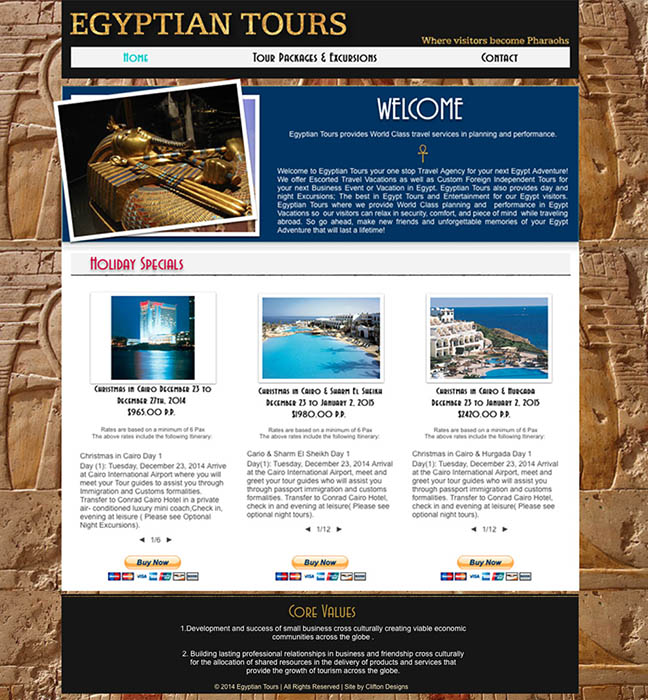 Egyptian Tours Website