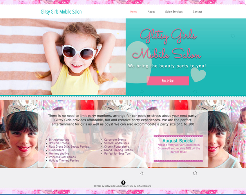 GLITSY girls party salon website