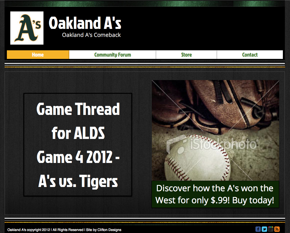 Oakland A website