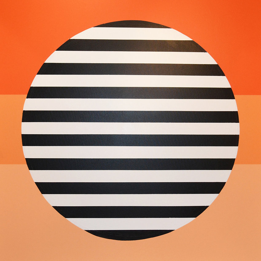 A painting by Samantha Hutzley containing a black and white striped circle. The background is a three step gradient from orange to light orange.