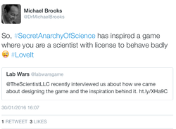 A tweet from author Michael Brooks
