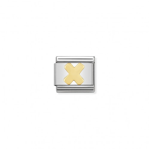 Stainless steel Letter X Link in 18K gold
