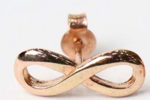 Infinity earrings 9ct rose gold stud earrings