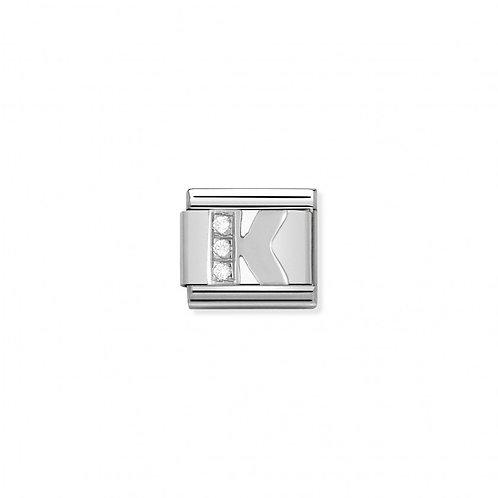 Alphabet Letter K with Cubic Zirconia