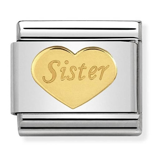 Classic Gold Symbols Sister Heart Charm