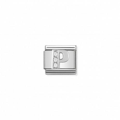 Alphabet Letter P with Cubic Zirconia