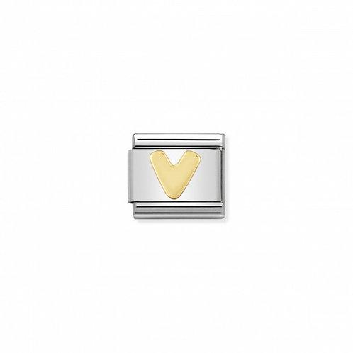 18K gold Link with Letter V