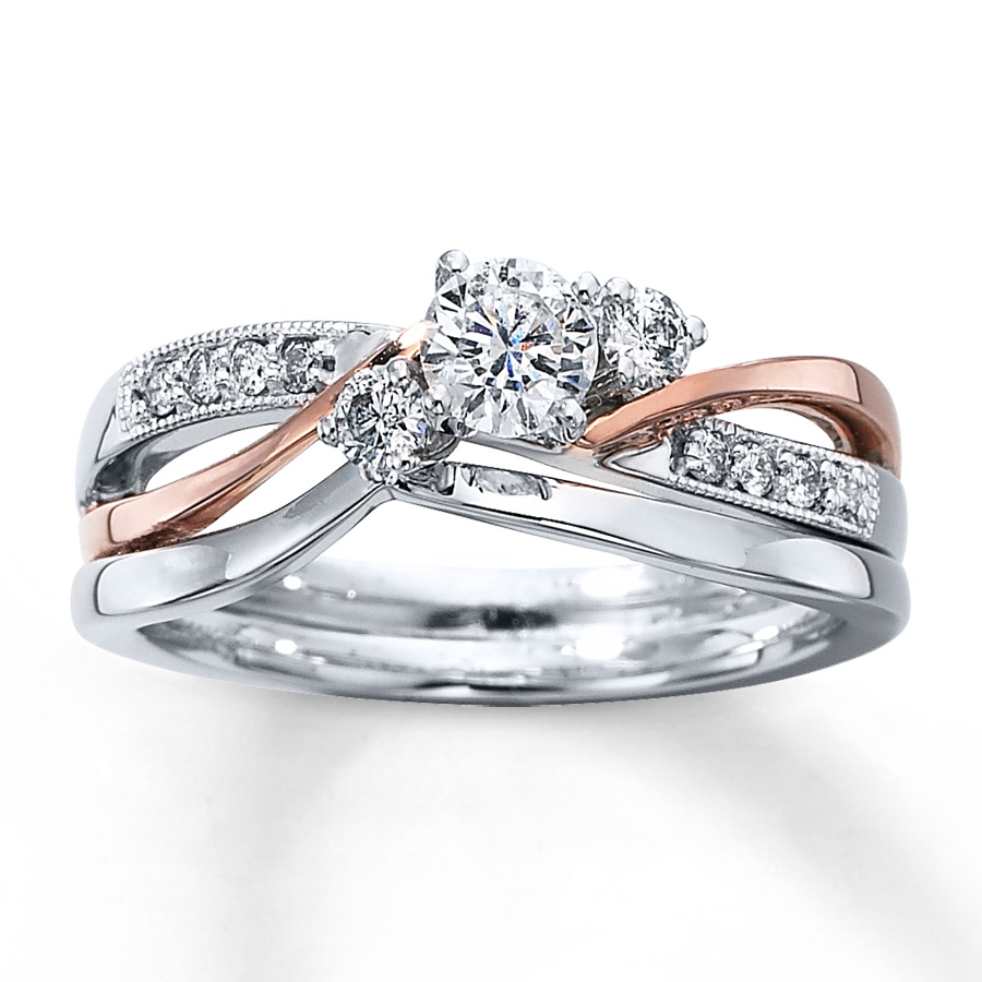 18ct White/Rose Gold with diamonds