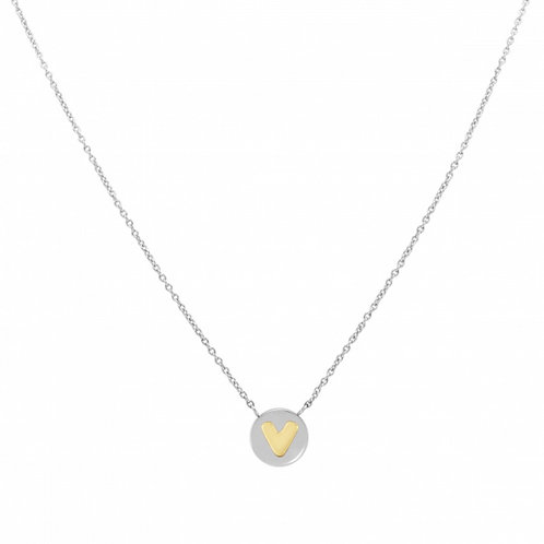 NECKLACE WITH LETTER V IN GOLD