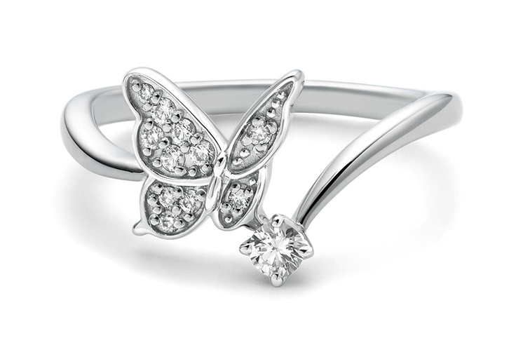9ct White Gold with butterfly design